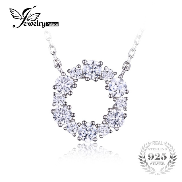 JewelryPalace 925 Sterling Silver Circle Chain Pendant Collar Necklace 45cm Fine Jewelry For Women