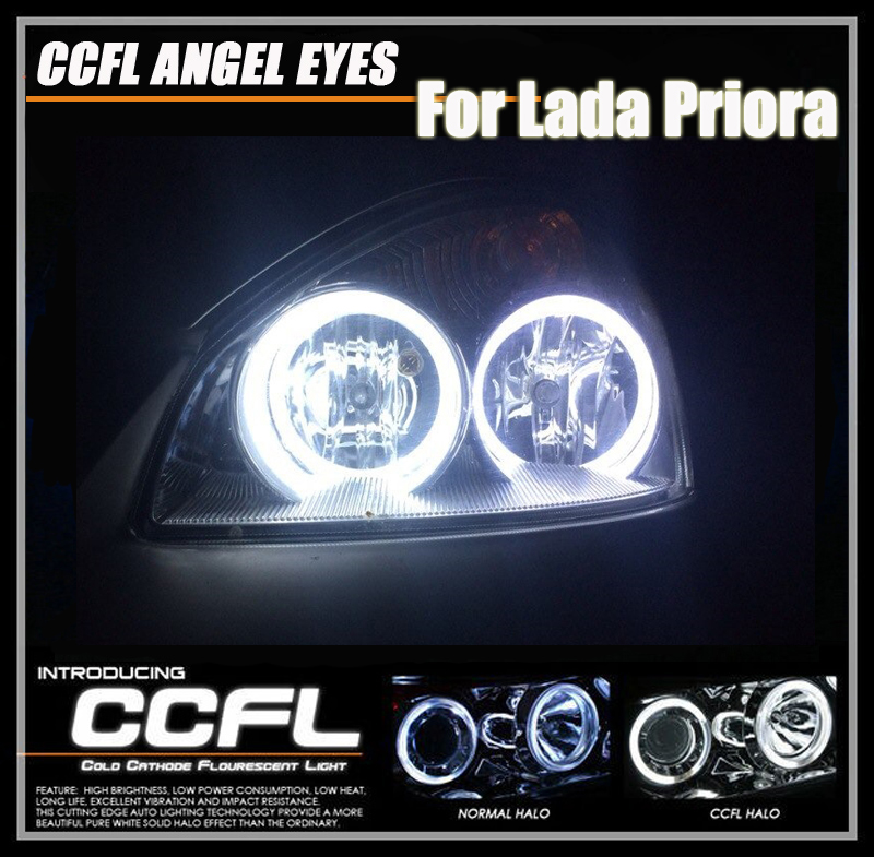 One Set White CCFL Angel Eyes Halo Rings Kits For Lada Priora 2*115+2*105mm Out DIA 7000K Xenon White Daylights Fog Head Light 4pcs set car 6 color optional headlight ccfl angel eyes halo rings kits for lada vaz 2109 fd 1274