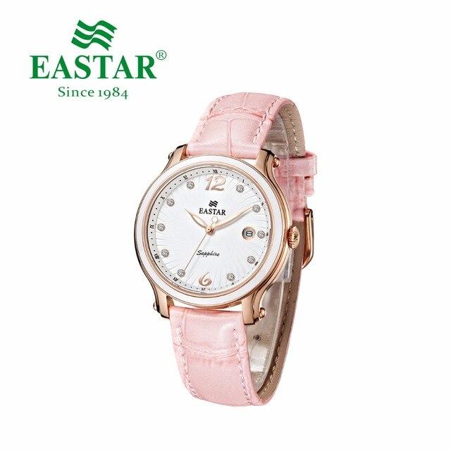 Eastar Elegant Women Rhinestone Watch Fashion Pink Strap Couple Quartz Wristwatc
