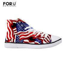 7eb2faadd8b4 FORUDESIGNS American USA Flag Print Teen Girl Canvas Shoes Women Daily High  Top Casual Shoes Student