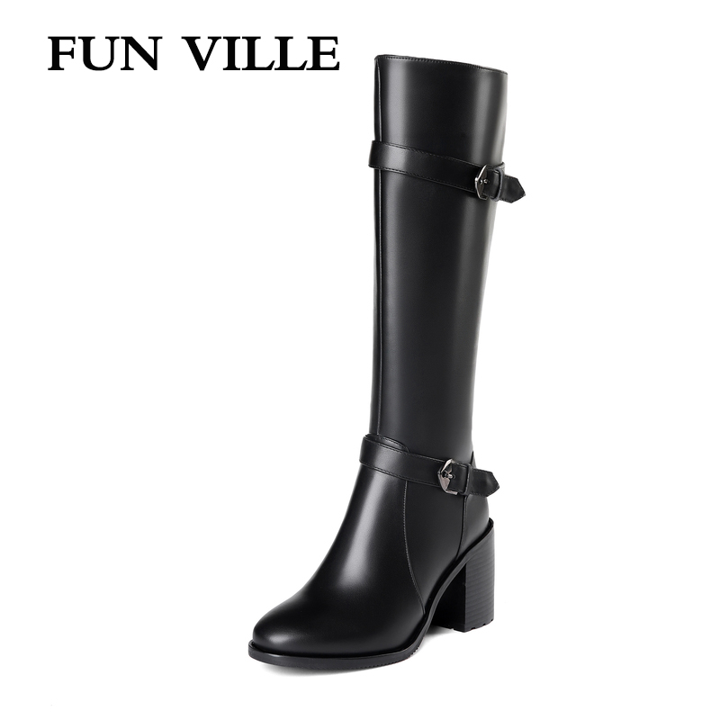 FUN VILLE 2018 New Style Women knee High Boots Genuine Leather Winter High heel Boots Warm Round toe Square Heel Big size 34-45 sexy 2016 national style square high heel over the knee boots round toe warm boots winter shoes women riding boots size 34 40