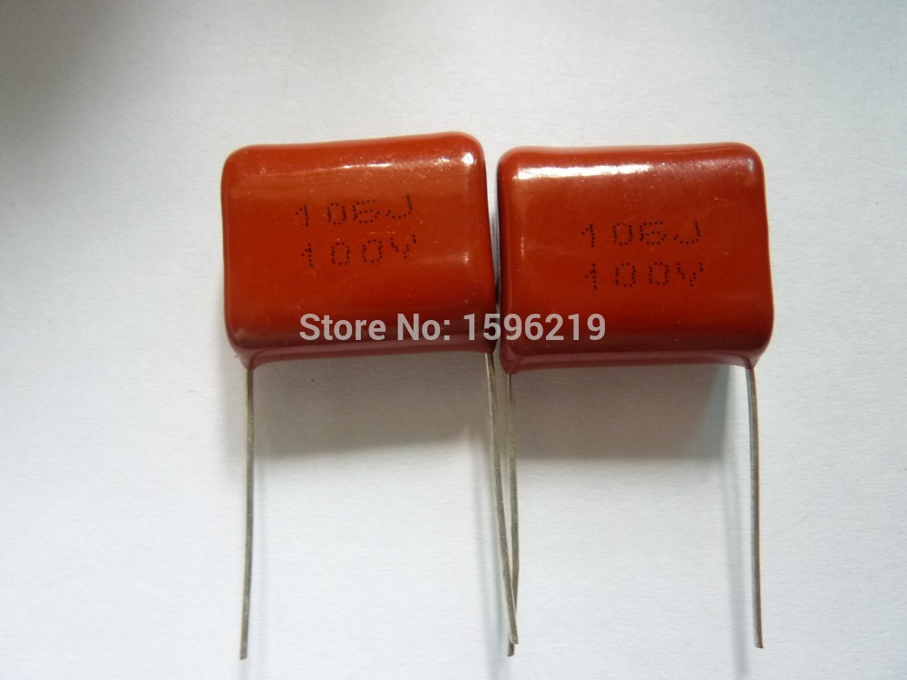 10pcs CBB Capacitor 106 100V 106J 10uF P22 CL21 Metallized Polypropylene Film Capacitor