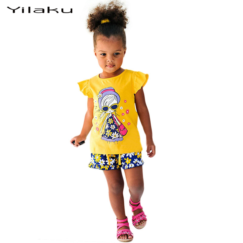 Toddler Girls Clothing Sets Cartoon Kids Clothes Tops+ Shorts Baby Girls Tracksuit Set Girls Boutique Outfits Sport Suits CF105