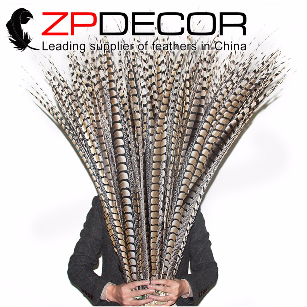 Leading Supplier ZPDECOR 40-44inch(100-110cm) 10pieces/lot Natural Lady Amherst Pheasant Super Long Tail Feathers for Carnival image