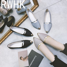 RWHK Womens shoes 2019 new spring shallow womens pointed flat fashion casual scoop B323