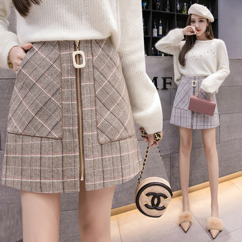 Korean Style Cute Fitted Mini Skirt Lady Kawaii Harajuku Skirt Plaid Short Atumn High Waisted Zipper Chic Skirts Womens  2884LY