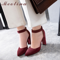 Meotina High Heels Women Shoes Buckle Thick High Heels Wedding Shoes Sexy Pointed Toe Ankle Strap Pumps Female Red Big Size 4 43