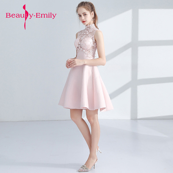 Beauty emily Short Prom Dresses new pink Prom Gowns Sleeveless Appliques Built-In Bra lovely short Evening Party Dresses 2019