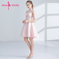 6f3861ff0a74a Beauty Emily Short Prom Dresses New Pink Prom Gowns Sleeveless Appliques  Built In Bra Lovely Short