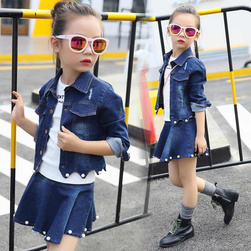 2018 Spring Girls Clothing Sets Baby Teenage Kids Girls Clothes Denim Coats + Skirts Long Sleeve Suits Outwear 8 10 12 14 Years 2017 spring boutique baby girl pullovers puff skirts girls sets embroidery long sleeve tops korean tutu skirts suits 2pcs set
