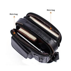 Image 3 - Westal masculino bolsa de ombro pequena aba zíper crossbody sacos de couro genuíno para homens bolsa masculina mensageiro sacos 8211