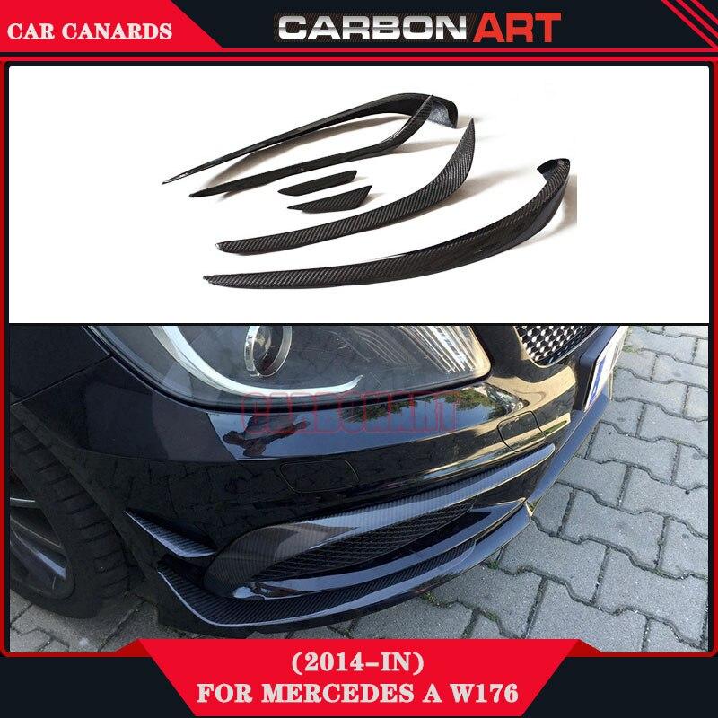 carbon fiber clothing made car auto front bumper wing canards for mercedes a class sport car w176 A180 A200 A260