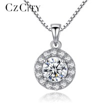 CZCITY Office Lady Genuine 925 Sterling Silver Chain Necklace AAA+ CZ Cubic Zirconia Round Pendant Necklace Fine Jewelry Brand