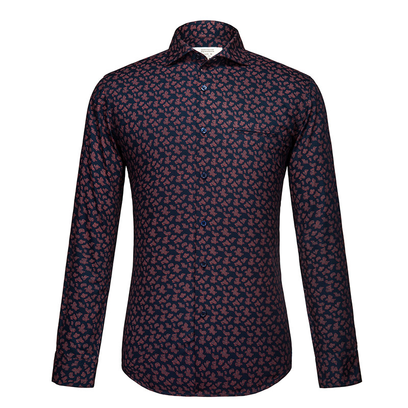 Floral Printed Shirt Men 2017 Brand New Long Sleeve Mens Dress Shirts Casual Slim Fit 100