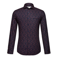 Floral Printed Shirt Men 2017 Brand New Long Sleeve Mens Dress Shirts Casual Slim Fit 100% Cotton Chemise Homme Men Clothes XXL