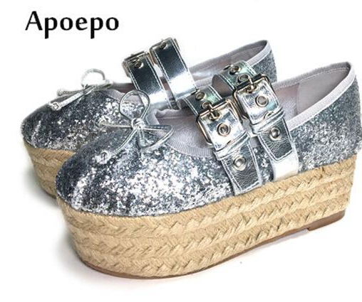 Apopeo 2018 Fashion Flat Platform Shoes Bling Bling Glitter Embellished Lace-up Ballet Flat for Woman Butterfly-knot Shoes недорго, оригинальная цена