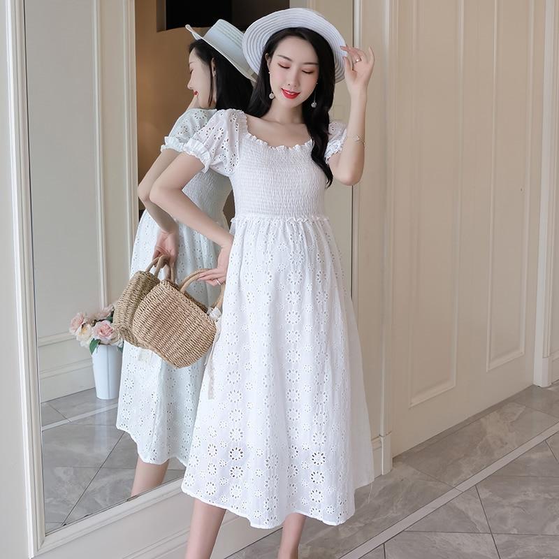 e3e5fe8c5 305 # ahuecado hacia fuera blanco bordado encaje algodón maternidad vestido  verano moda dulce ropa ...