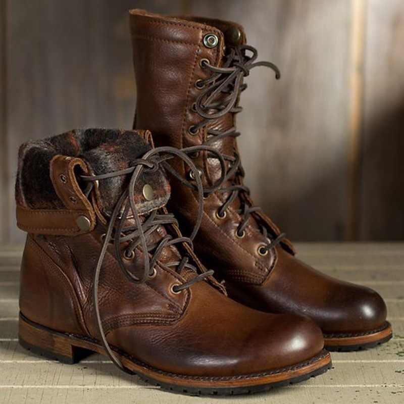 ManTurnup yüksek Top sürme batı askeri Arymy çöl botları ayakkabı 38-48 erkekler Pu deri ayak bileği bağcığı motosiklet Boots ayakkabı