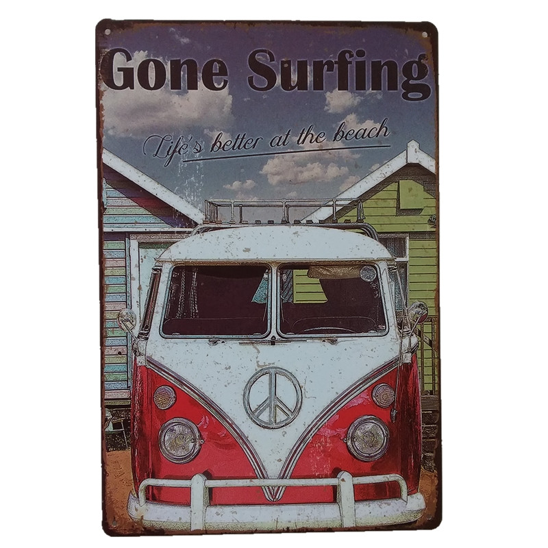 Gone Surfing Vintage PaintingTin Signs Metal Sign Home Decor Cafe Bar Wall Sticker Living Room Poster Iron Painting Sign 20*30 ...