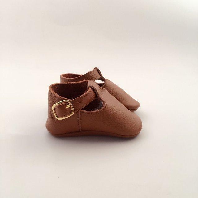 Bronceado Geninue Cuero Infantil Arco Zapatos de Bebé Hechos A Mano