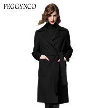 PEGGYNCO 2017 Cashmere Wool Coat  Medium Long Female Single Breasted Women Autumn Winter Jackets Turn-Down Collar Trench Coat