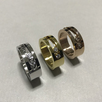 DJMACC Stainless Steel Ring Three Move Zircon 3 Color Rings For Women Jewelry Fashion Jewelry DJ1168