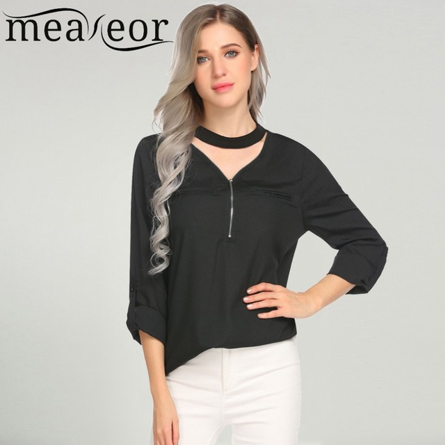 344a3eeb1cbbb2 Meaneor Women Blouse Shirt White Zipper Choker V Neck Roll-Up Cuffed Long  Sleeve Top Loose Casual Female Clothing Blusa