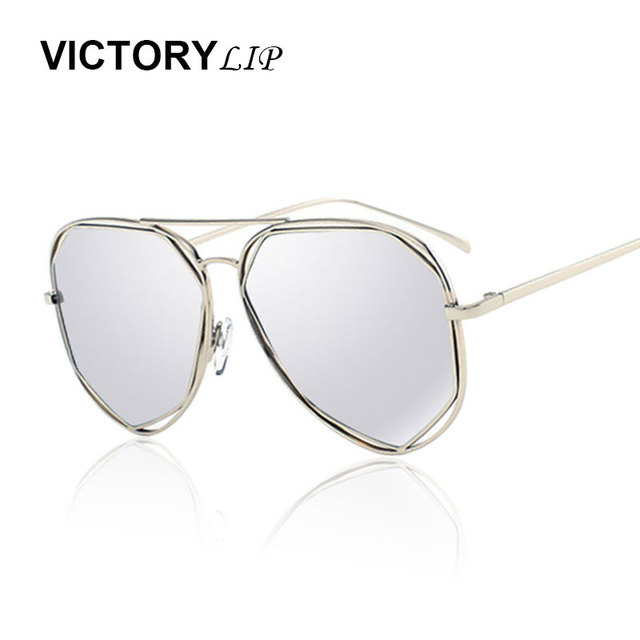 2ac7ab37cf28 VictoryLip 2016 New Hot Pilot Stylish Sunglasses Men Women Mirror Cool  Shades Hexagon Flat Top Lens Sun Glasses Male Female