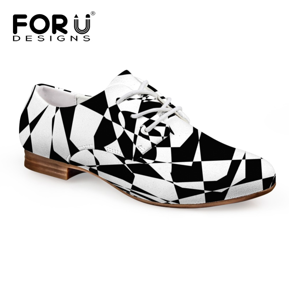 FORUDESIGNS Black and White Women Shoes Comfort Stripe Female PU Oxford Shoes Lace-up Women Flat Walking Shoes Zapatos Mujer black lace up design stripe drawstring waist ruffle hem mini skirts
