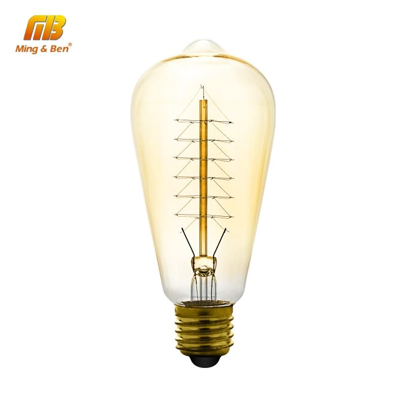 ST64 Vintage Edison Bulbs E27 220V Christmas Tree Incandescent Bulbs 40W Filament Antique Retro Edison Light For Pendant Lamp