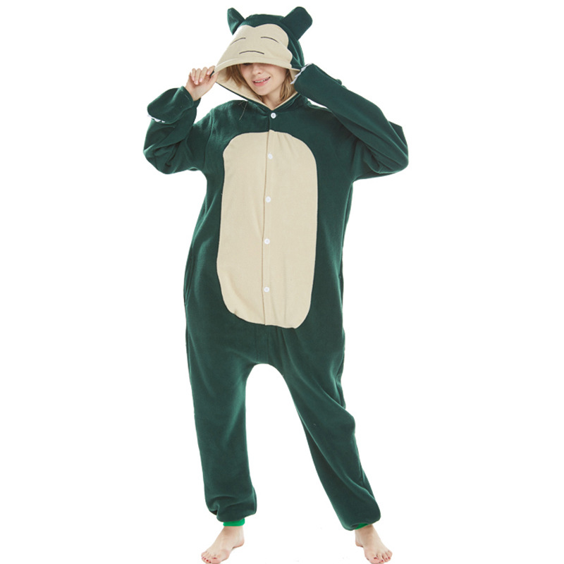 Pokemon Snorlax Onesie Cartoon Anime Pajama Animal Bear Party Jumpsuit Women Adult Hooded Fancy Green Long Sleepwear