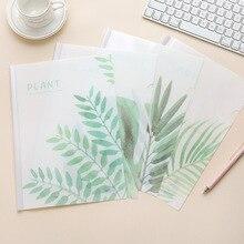Coloffice A4 маленькая свежая зеленая PP папка с растениями, Студенческая тестовая бумажная клипса, Офисная папка, корейские милые канцелярские принадлежности, школьные принадлежности, 1 шт