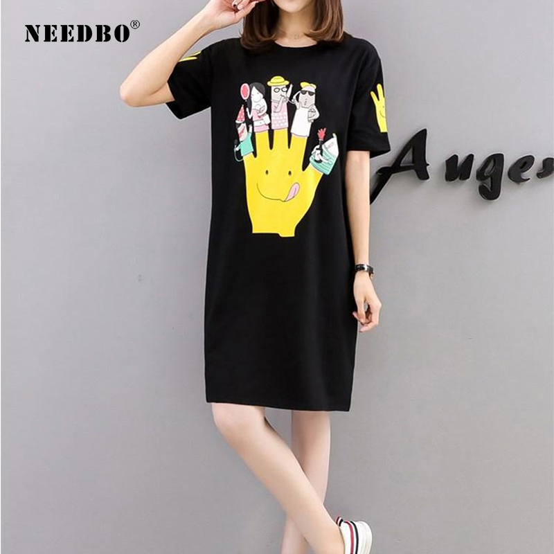 Needbo T Shirt Women Oversize 5xl Robe Tee Shirt Femme Unique Top Print Cartoon Short Sleeve Casual Long T Shirt Dress Plus Size T Shirts Aliexpress