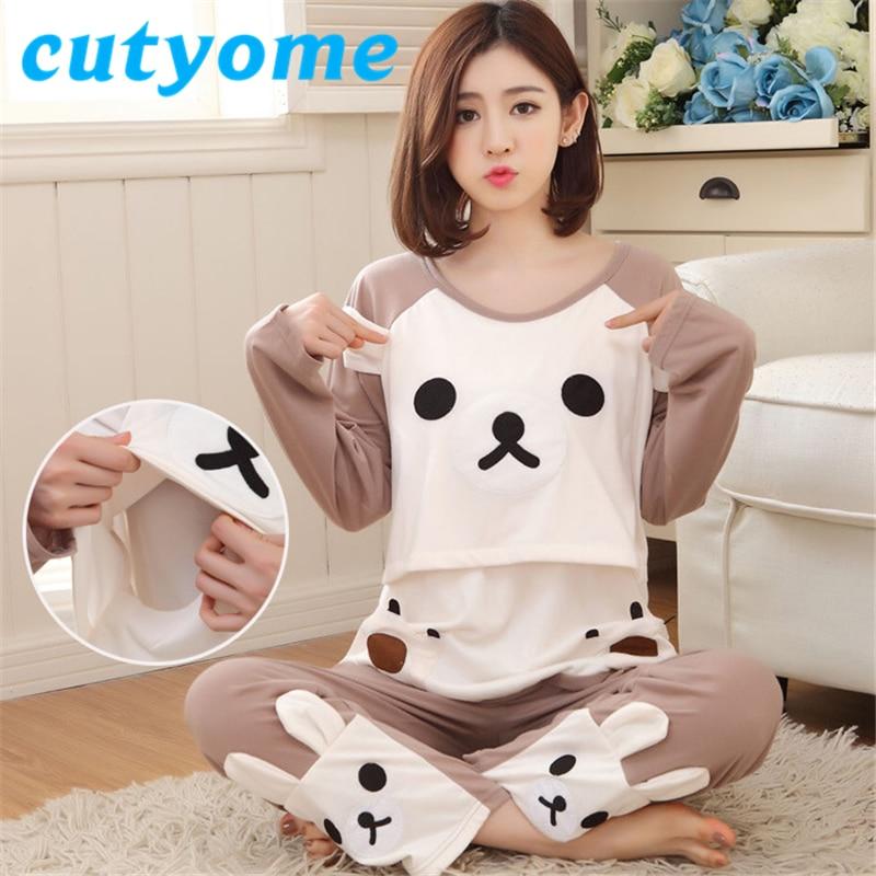 3XL Schwangerschaft Frauen Langarm Pyjamas Set Baumwolle Umstandsmode Pflege Pyjamas Cartoon Bär Schwangere Frauen Nachtwäsche Robe