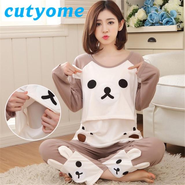 569251da7c9e4 3XL Pregnancy Women Long Sleeve Pyjamas Set Cotton Maternity Clothes Nursing  Pyjamas Cartoon Bear Pregnant Women Sleepwear Robe