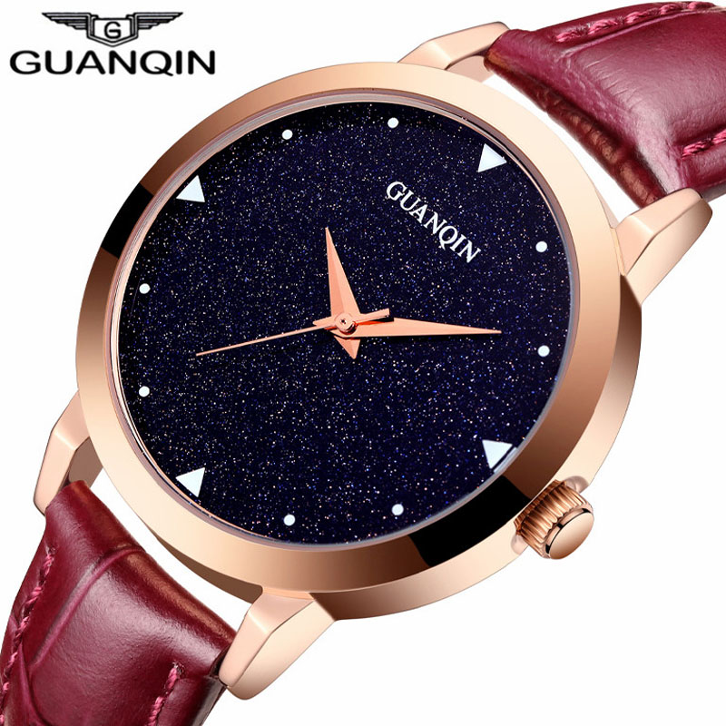 ФОТО relogio feminino New GUANQIN Watch Women Dress Starry Sky Design Simple Quartz Watch Ladies Fashion Casual Leather Wristwatch