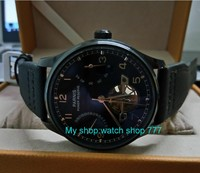 43mm PARNIS Black Dial Power Reserve Automatic Self Wind Mechanical Movement Men S Watches Nylon Strap