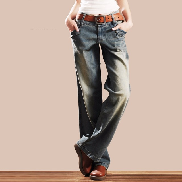Aliexpress.com : Buy Plus Size Women Elastic Wide Leg Jeans Loose ...