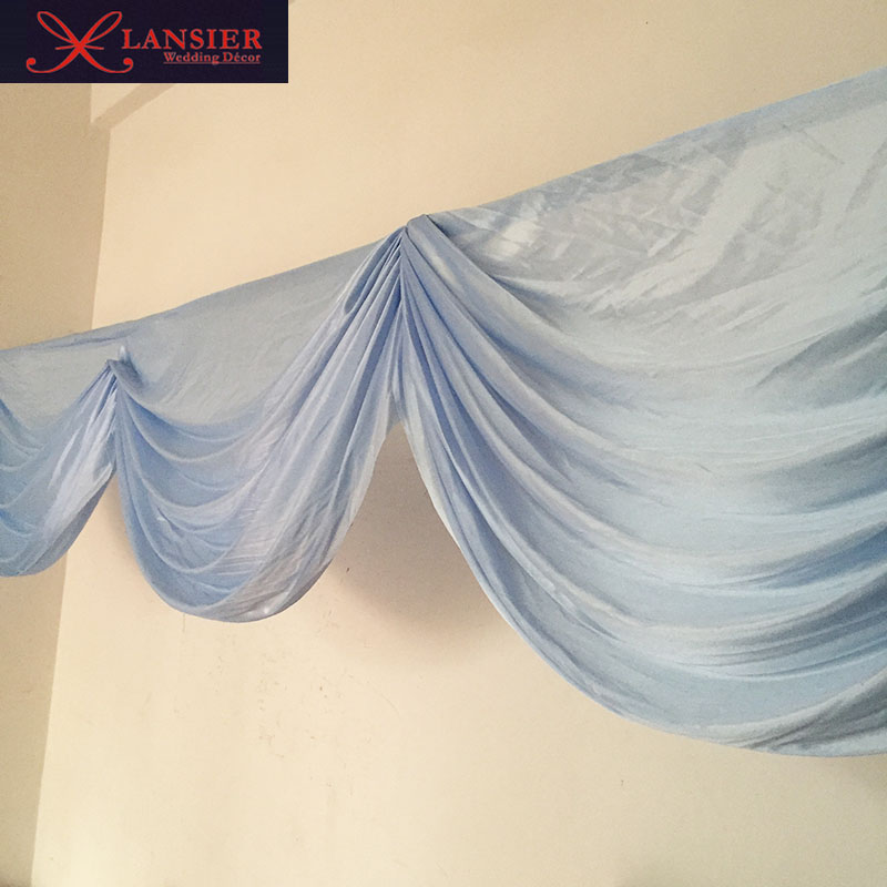 6 Meter Length Baby Blue Swags For Wedding Decoration Lovely Elegant Swag Table Skirt