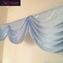 6 meter length baby blue swags for wedding decoration lovely romantic elegant wedding swag table skirt