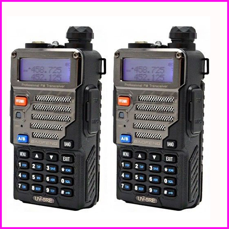 bilder für PTT Bao Feng Pofung Uv 5re Walkie Talkie 2 stücke Radio Baofeng für Talky Walky 2 Zwei-wege-radio Scanner Schinken Baofeng Uv-5re Plus 5 watt