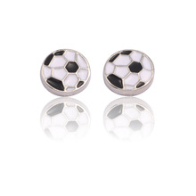Fashion La Liga Super League World Cup Football Earrings Black and White Plaid New Stud Unisex Trends Gifts
