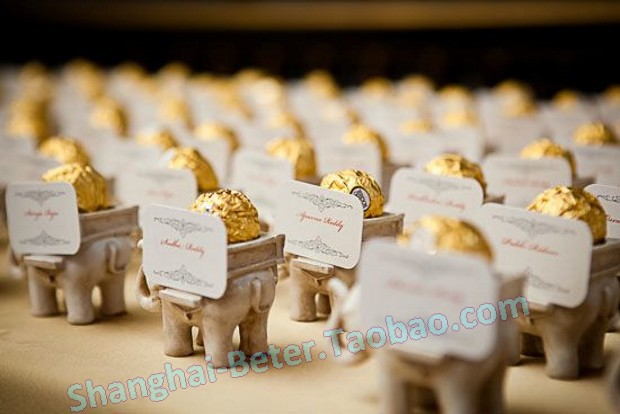 50box Free Shipping Adorable Resin Elephant Candle Holder And Place Card SZ040 Indian Wedding Favors
