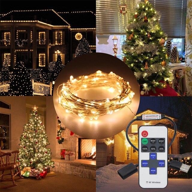 5m 10m 33ft usb 5v led string christmas light copper wire holiday led lights for garlands