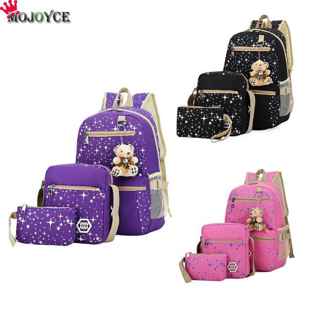 3 Colors Backpacks Women Backpack Vintage Canvas School Bags for Teenager  Girls Shoulder Travel Bag 3 pieces Sets Mochila WL1007 19b01471d41a2