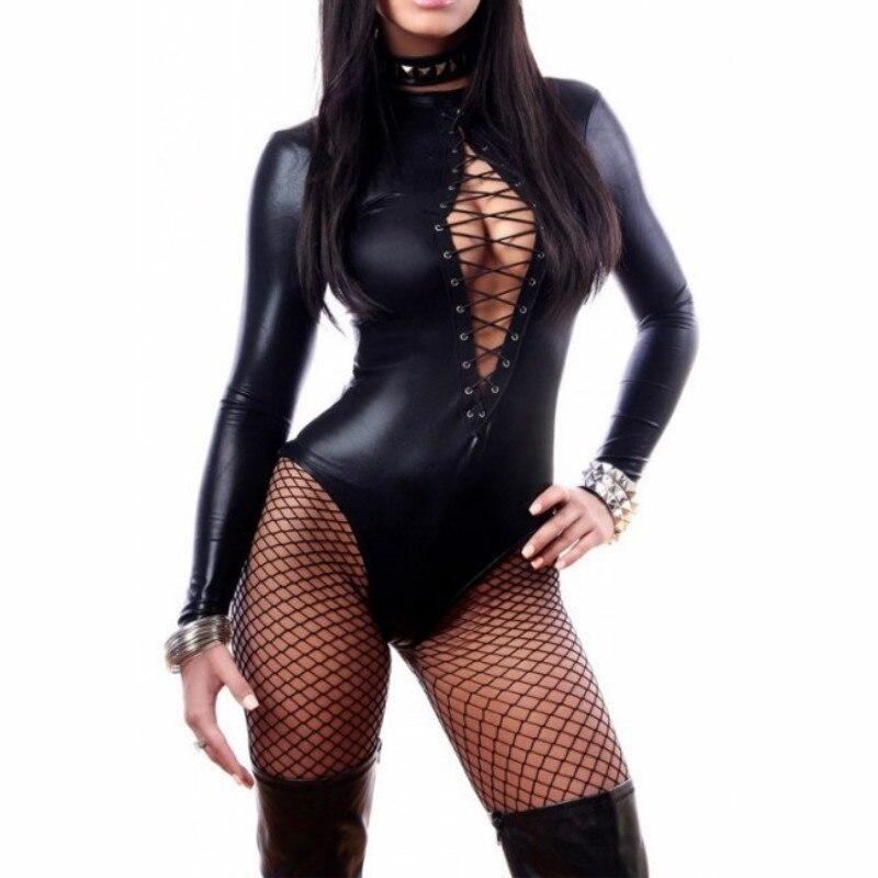 2018 Plus Size XL Catsuit Newest Lace-Up Design Gothic Black Leather Bodysuit Fetish Bondage Long Sleeve Erotic Catsuit