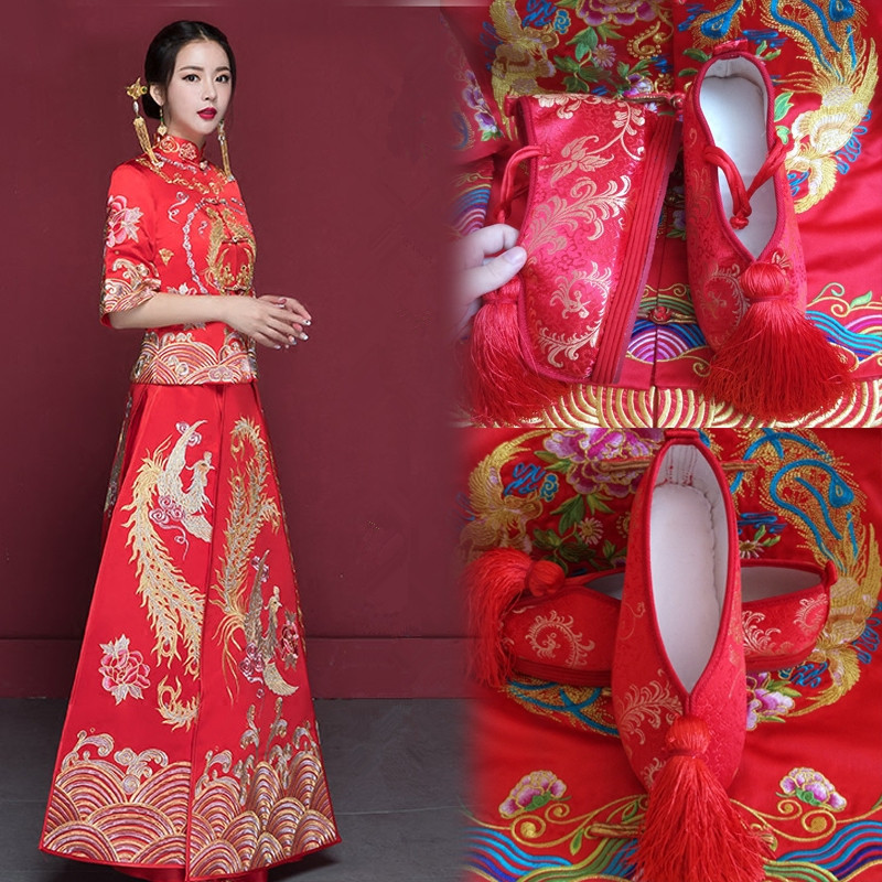 embroidered wedding cloth shoes for women red wedding shoes red chinese embroidered shoes