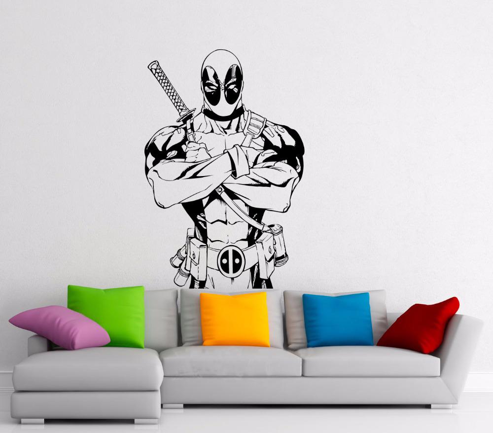 Deadpool-Decal-Superhero-Comics-Antihero-Vinyl-Sticker-Book-Character-Home-Interior-Nursery-Teen-Room-Wall-Decor