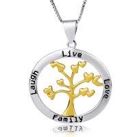 Golden Family Life Tree Solid 925 Sterling Silver Necklace For Women