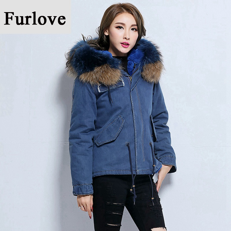 Winter Coat Women 2017 Jacket Blue Black Jackets Real Raccoon Fur Collar Hooded Coats Army Green Denim Parka Thick Warm Parkas new parkas for women winter with fur coat 2017 gray blue red coats real raccoon fur collar parka thick warm hooded jacket womens